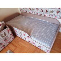 Bélelt lepedő, ágytakaró gyerekágyra: szürke alapon fehér csillagos