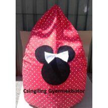 Csepp alakú 2in1 babzsák: Piros pöttyös Minnie fantázia