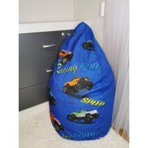 Csepp alakú 2in1 babzsák:  Királykék  - Kék Racing
