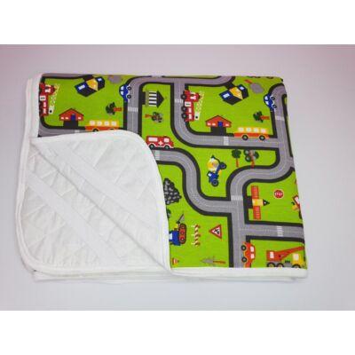 Ágytakaró gyermekágyaink mintájával: Zöld kisautós 63x150 cm-es