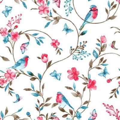 """""""SUNSHINE"""" kollekció - RORI kárpitos fotelágy: Tetszőleges színű támlákkal - Türkiz madaras"""