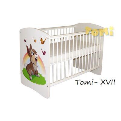 Kiságy (rácsos ágy): Tomi XVII- Hófehér (Színes Nyuszi mintával)