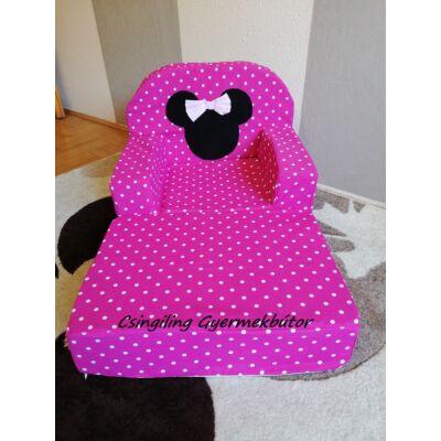 Babafotel - klasszikus (0-3 éves korig): KIHAJTHATÓ Pink pöttyös Minnie fantázia -bútorszövetKÉSZLETRŐL!!!