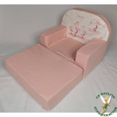 Babafotel - klasszikus (0-3 éves korig): Puncs- flamingó KIHAJTHATÓ - KÉSZLETRŐL!!!-bútorszövet