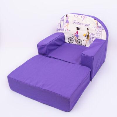 Berry Baby Babafotel - klasszikus (0-3 éves korig): Lila-lila girls háttámla KIHAJTHATÓ - KÉSZLETRŐL!!!-bútorszövet
