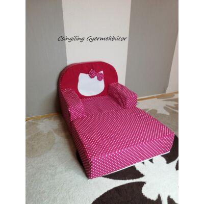 Berry Baby Babafotel - klasszikus (0-3 éves korig): Pink apró pöttyös Kitty fantázia KIHAJTHATÓ - KÉSZLETRŐL!!!-bútorszövet