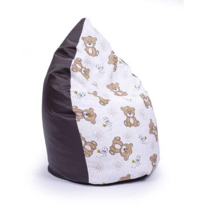 Csepp alakú 2in1 babzsák: Csokibarna ECO BŐR - Bear KÉSZLETRŐL