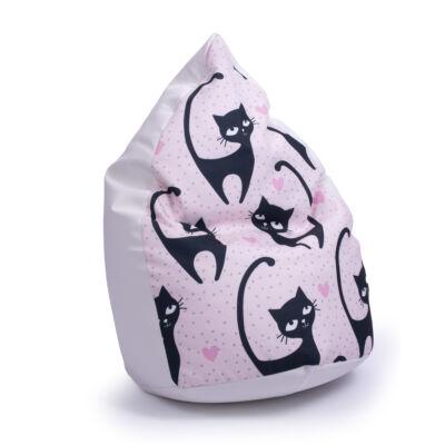 Csepp alakú 2in1 babzsák: Fehér ECO BŐR - Black Cat KÉSZLETRŐL