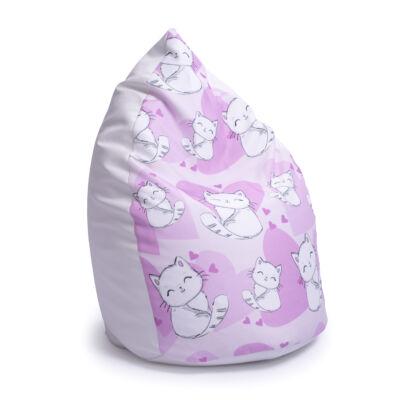 Csepp alakú 2in1 babzsák: Fehér ECO BŐR - Sweet Kitty KÉSZLETRŐL