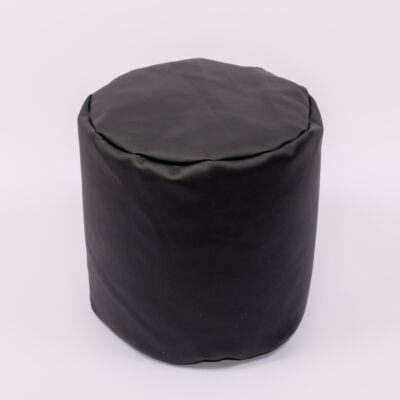 Babzsák puff: Fekete Eco-bőr KÉSZLETRŐL