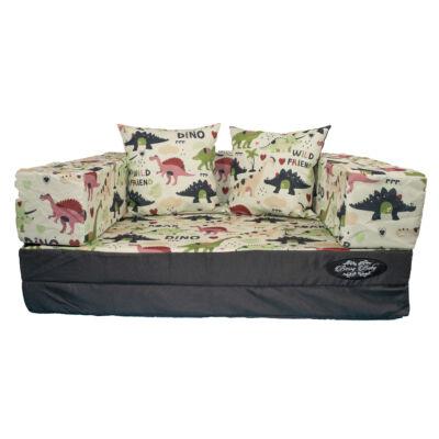 Berry Baby DIAMOND szivacs kanapéágy, gyerek méretben: Grafit - Dino