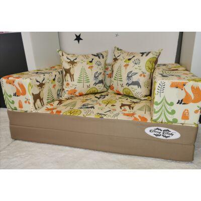 Berry Baby DIAMOND szivacs kanapéágy, felnőtt méretben: Kávé-Forest, 2db ajándék párnával KÉSZLETRŐL