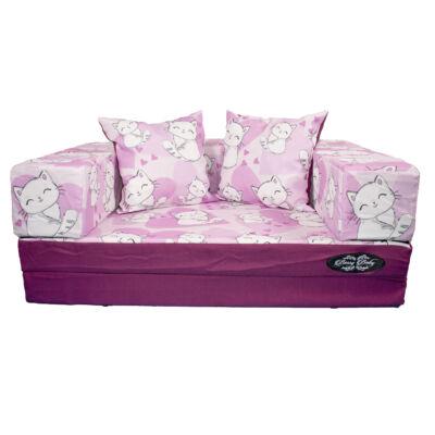 Berry Baby DIAMOND szivacs kanapéágy felnőtt méretben:  orchidea Sweet Kitty cicás