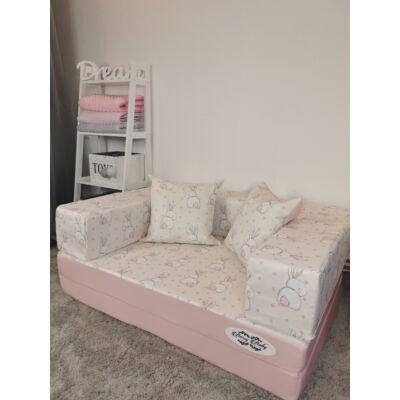 Berry Baby DIAMOND szivacs kanapéágy, gyerek méretben: Rózsaszín - Sweet Bunny