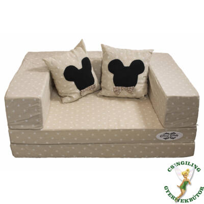 Berry Baby SUNSHINE szivacs kanapéágy, felnőtt méret 180x200cm: Bézs csillagos, 2 db Mickey párnával, KÉSZLETRŐL