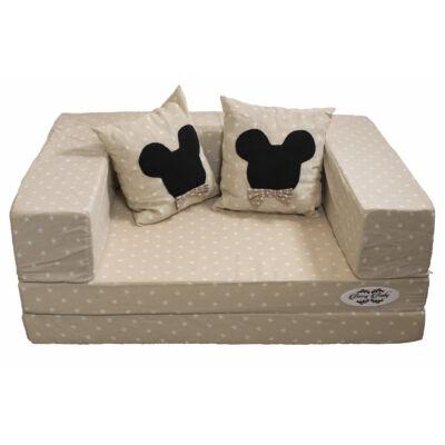 Berry Baby SUNSHINE szivacs kanapéágy, felnőtt méretben: Bézs csillagos (Minnie vagy Mickey fantázia díszpárnákkal is kérhető)