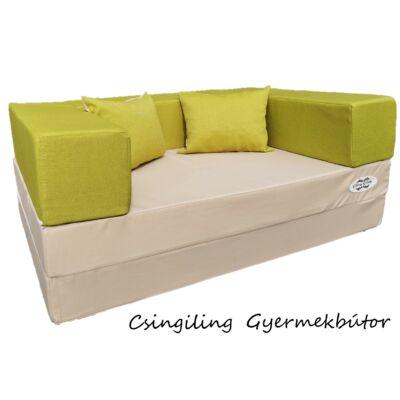Berry Baby SUNSHINE szivacs kanapéágy, gyerek méretben: Drapp lapok - kiwi karfa