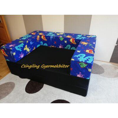Berry Baby SUNSHINE szivacs kanapéágy, felnőtt méretben: Fekete lapok - kék tengeres karfa