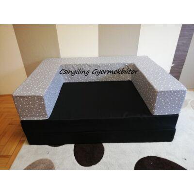 Berry Baby SUNSHINE szivacs kanapéágy, gyerek méretben: Fekete lapok - Szürke alapon masnis karfa