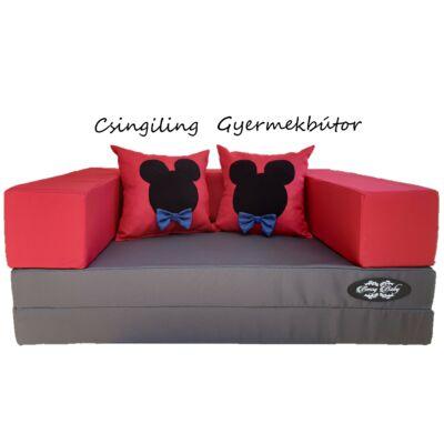 Berry Baby SUNSHINE szivacs kanapéágy, felnőtt méretben: Grafit lapok - piros karfa - (Mickey vagy Minnie fantázia párnákkal is kérhető)