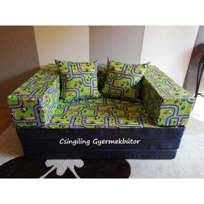 Berry Baby SUNSHINE szivacs kanapéágy, gyerek méretben: Grafit - zöld kisautós