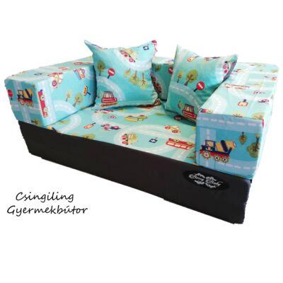 Berry Baby SUNSHINE szivacs kanapéágy, gyerek méretben: Grafit - türkiz kisautós