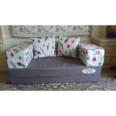 Berry Baby SUNSHINE szivacs kanapéágy, felnőtt méretben: Grafit lapok - tulipános karfa