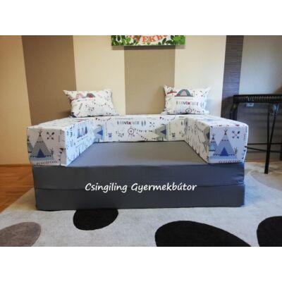 Berry Baby SUNSHINE szivacs kanapéágy, felnőtt méretben: Grafit lapok - indiános karfa, 2 db ajándék párnával, KÉSZLETRŐL
