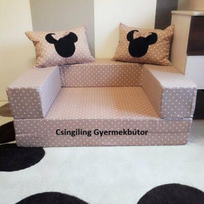 Berry Baby SUNSHINE szivacs kanapéágy, felnőtt méretben: Kávé pöttyös (Minnie vagy Mickey fantázia díszpárnákkal is kérhető)