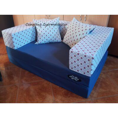 Berry Baby SUNSHINE szivacs kanapéágy, gyerek méretben: Sötétkék lapok - piros apró vitorlás karfa