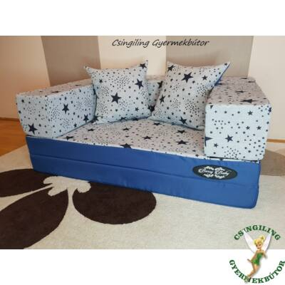 Berry Baby SUNSHINE szivacs kanapéágy, felnőtt méretben: Kék - kék csillagos