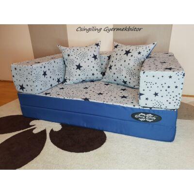 Berry Baby SUNSHINE szivacs kanapéágy, gyerek méretben: Kék - kék csillagos