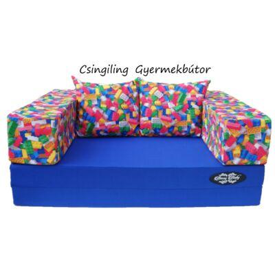 Berry Baby SUNSHINE szivacs kanapéágy, felnőtt méretben: Királykék lapok - legós karfa