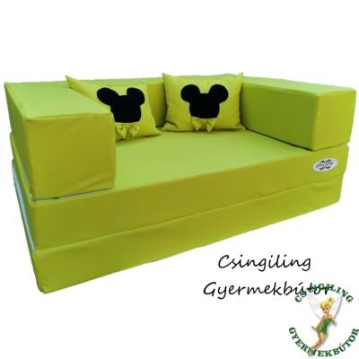 Berry Baby SUNSHINE szivacs kanapéágy, gyerek méretben: Kiwi Mickey  (Mickey fantázia díszpárnákkal is kérhető)