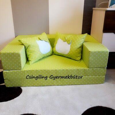 Berry Baby SUNSHINE szivacs kanapéágy, gyerek méretben: Lime pöttyös (Hello Kitty  fantázia díszpárnákkal is kérhető)