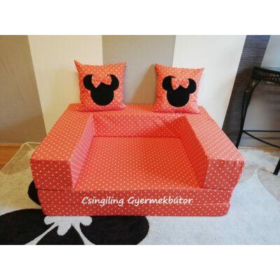 Berry Baby SUNSHINE szivacs kanapéágy, felnőtt méretben: Narancs pöttyös (Minnie fantázia díszpárnákkal is kérhető)