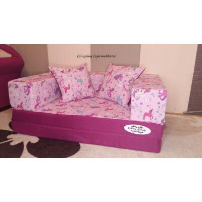 Berry Baby SUNSHINE szivacs kanapéágy, gyerek méretben: Orchidea - lila pónis KÉSZLETRŐL