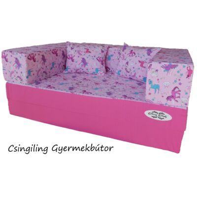 Berry Baby SUNSHINE szivacs kanapéágy, gyerek méretben: Pink - lila pónis
