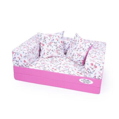 SUNSHINE szivacs kanapéágy, gyermek méretben, 2 lapos: Pink - türkiz madárkás + 2 DB AJÁNDÉK PÁRNA KÉSZLETRŐL!!!