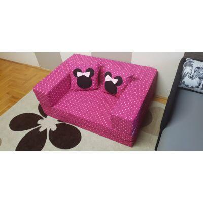 Berry Baby SUNSHINE szivacs kanapéágy, felnőtt méretben: Pink pöttyös (Minnie fantázia díszpárnákkal is kérhető)