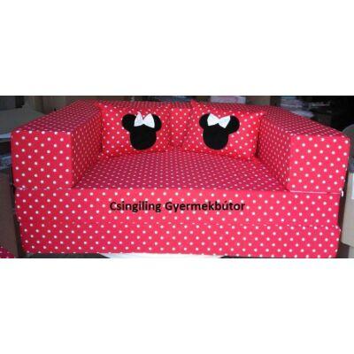 Berry Baby SUNSHINE szivacs kanapéágy, felnőtt méretben: Piros pöttyös (Minnie fantázia díszpárnákkal is kérhető)