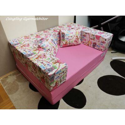 Berry Baby SUNSHINE szivacs kanapéágy, gyerek méretben: Puncs lapok - hintázós kislány karfa