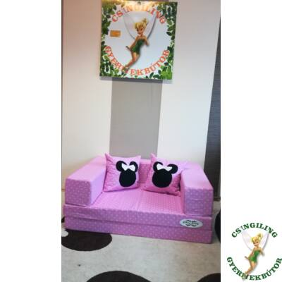 Berry Baby SUNSHINE szivacs kanapéágy, gyerek méretben: Középrózsaszín pöttyös (Minnie fantázia díszpárnákkal is kérhető)