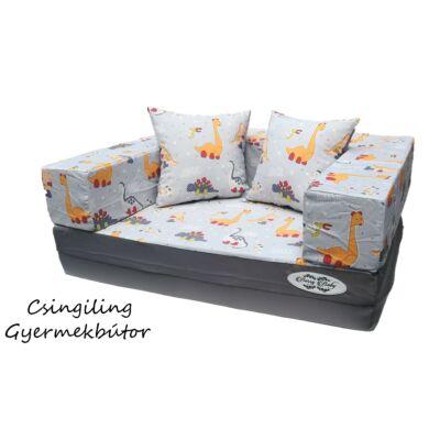 Berry Baby SUNSHINE szivacs kanapéágy, gyerek méretben: Szürke - Dínós