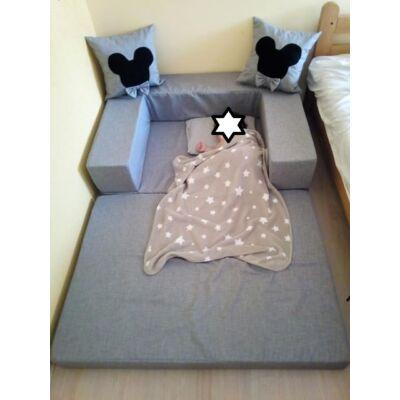 Berry Baby SUNSHINE szivacs kanapéágy, gyerek méretben: Szürke(Mickey vagy Minnie fantázia díszpárnákkal is kérhető)