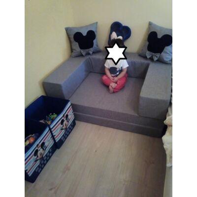 Berry Baby SUNSHINE szivacs kanapéágy, felnőtt méretben: Szürke (Mickey vagy Minnie fantázia díszpárnákkal) KÉSZLETRŐL