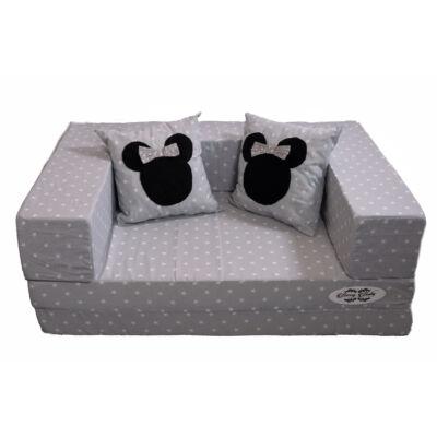 Berry Baby SUNSHINE szivacs kanapéágy, gyerek méretben: Szürke csillagos (Mickey vagy Minnie fantázia díszpárnákkal is kérhető)