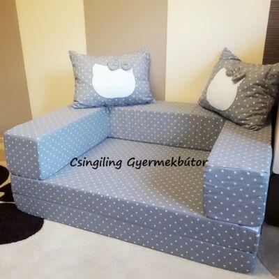 Berry Baby SUNSHINE szivacs kanapéágy, felnőtt méretben:  Szürke pöttyös (Hello Kitty fantázia díszpárnákkal is kérhető)