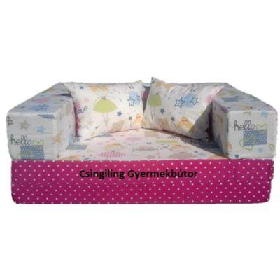 Berry Baby SUNSHINE szivacs kanapéágy, gyerek méretben: Pink pöttyös - tündéres