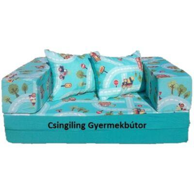 Berry Baby SUNSHINE szivacs kanapéágy, felnőtt méretben:  Türkiz - türkiz kisautós DUPLA KARFÁVAL-KÉSZLETRŐL!!!